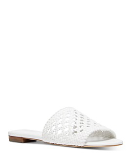 MICHAEL Michael Kors - Women's Augustine Woven Leather Slide Sandals