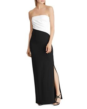 Ralph Lauren - Strapless Color-Block Gown