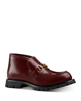 Gucci - Men's Leather Apron-Toe Ankle Boots