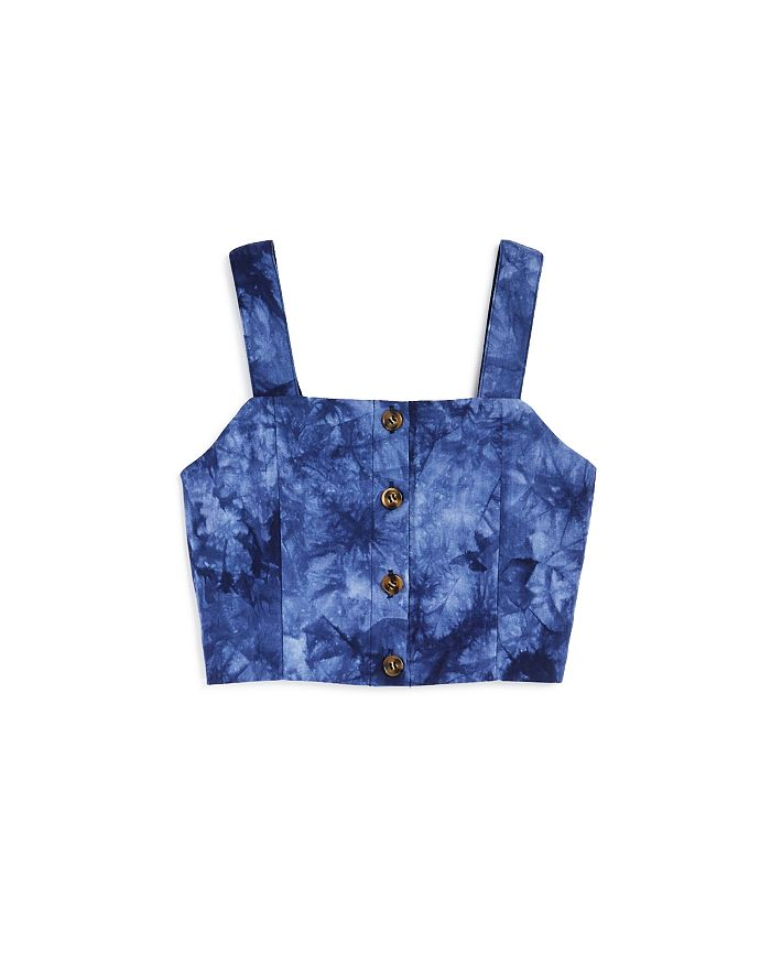 AQUA - Girls' Tie-Dyed Button-Up Tank, Big Kid - 100% Exclusive