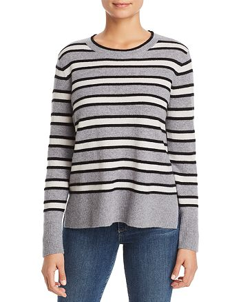C by Bloomingdale's - High/Low Striped Cashmere Sweater - 100% Exclusive