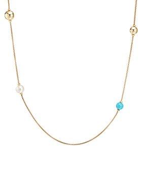 "David Yurman - 18K Yellow Gold Solari XL Station Chain Necklace with Gemstones, 36"""