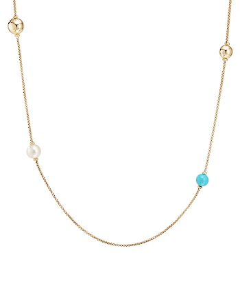 """David Yurman - 18K Yellow Gold Solari Turquoise & Cultured Freshwater Pearl XL Station Chain Necklace, 36"""""""