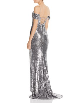 Bariano - Sally Cold-Shoulder Sequin Gown