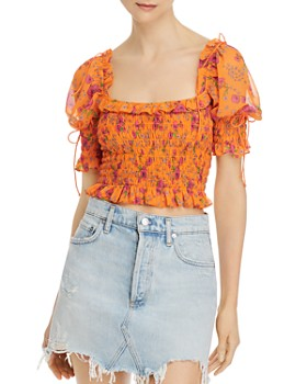For Love & Lemons - Peony Smocked Crop Top
