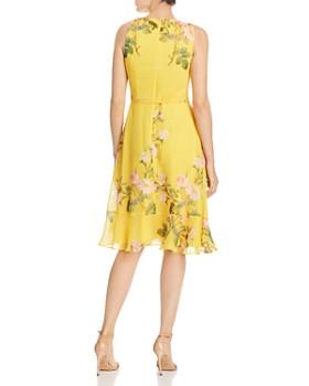 Adrianna Papell - Faux-Wrap Printed Chiffon Dress