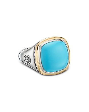 David Yurman - Sterling Silver & 18K Yellow Gold Albion Reconstituted Turquoise Ring