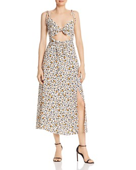 WAYF - Phoebe Cut-Out Cheetah Dress