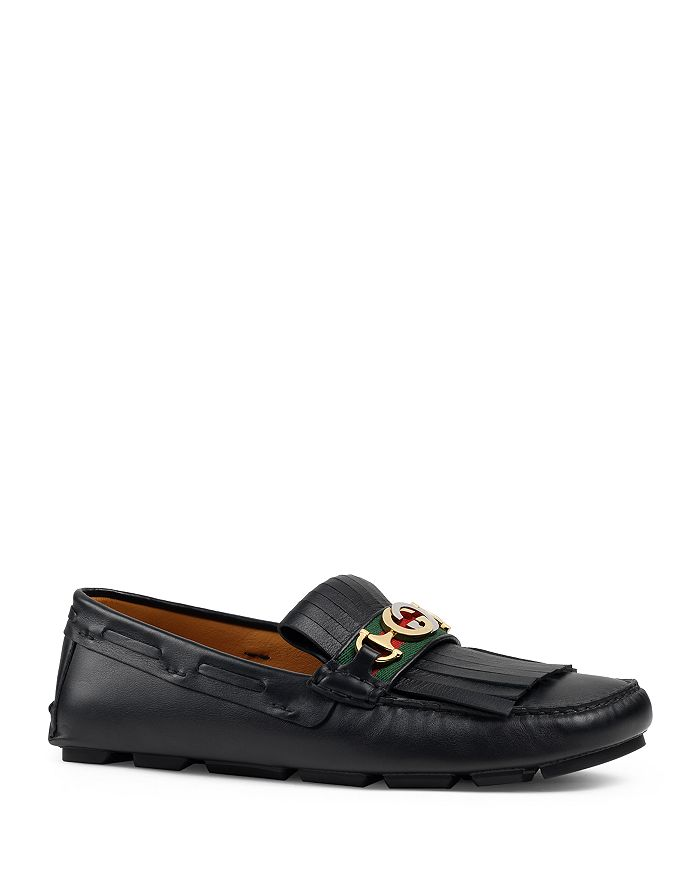 Gucci - Men's Leather Interlocking-G Horsebit Drivers Brand Name