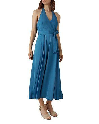 KAREN MILLEN - Pleated Halter Midi Dress