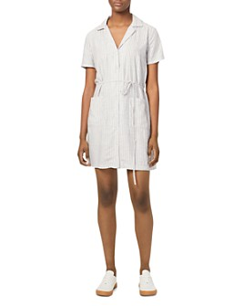 FRENCH CONNECTION - Laiche Striped Button-Down Shirt Dress
