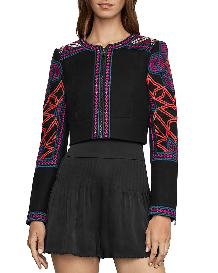 c141248d8e BCBGMAXAZRIA Embroidered Cropped Jacket | Bloomingdale's