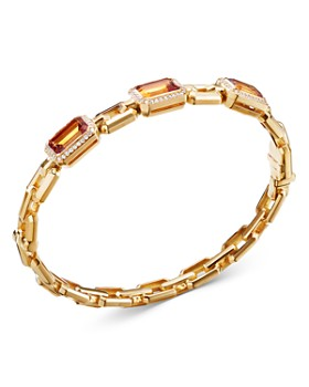 David Yurman - 18K Yellow Gold Novella Three-Stone Bracelet with Madeira Citrine & Diamonds