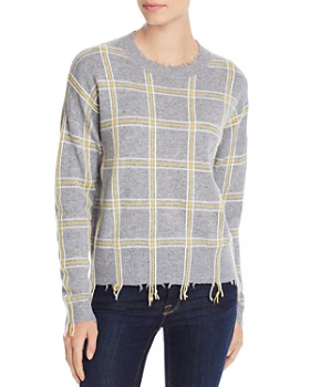 AQUA - Distressed Plaid Cashmere Sweater - 100% Exclusive
