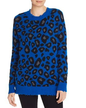 AQUA - Distressed Leopard Jacquard Cashmere Sweater - 100% Exclusive