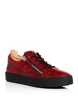 Giuseppe Zanotti - Men's Maskenada Snake-Embossed Leather Low-Top Platform Sneakers