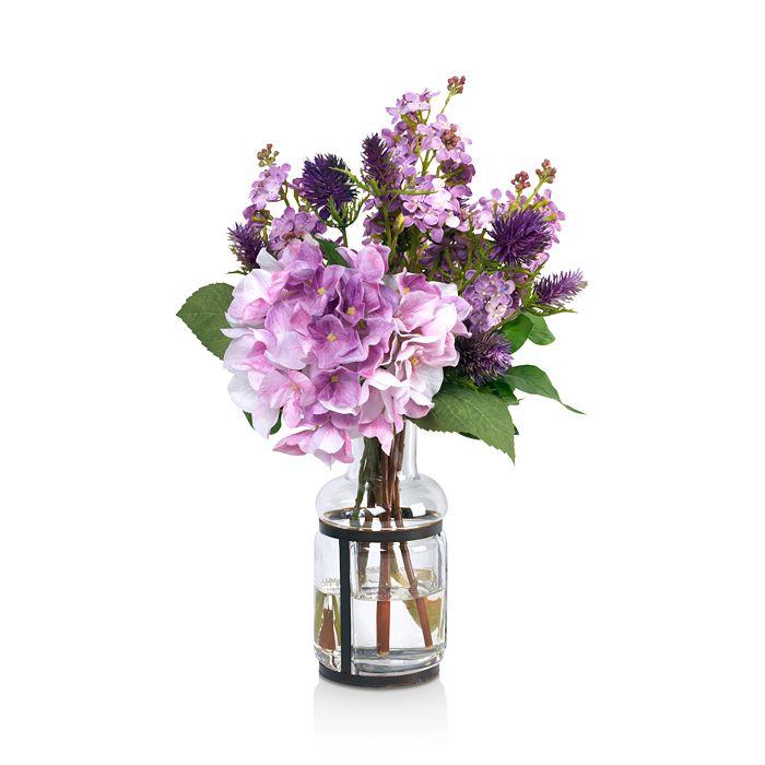 Diane James Home - Lavender Lilac Faux Floral Arrangement in Glass Vase