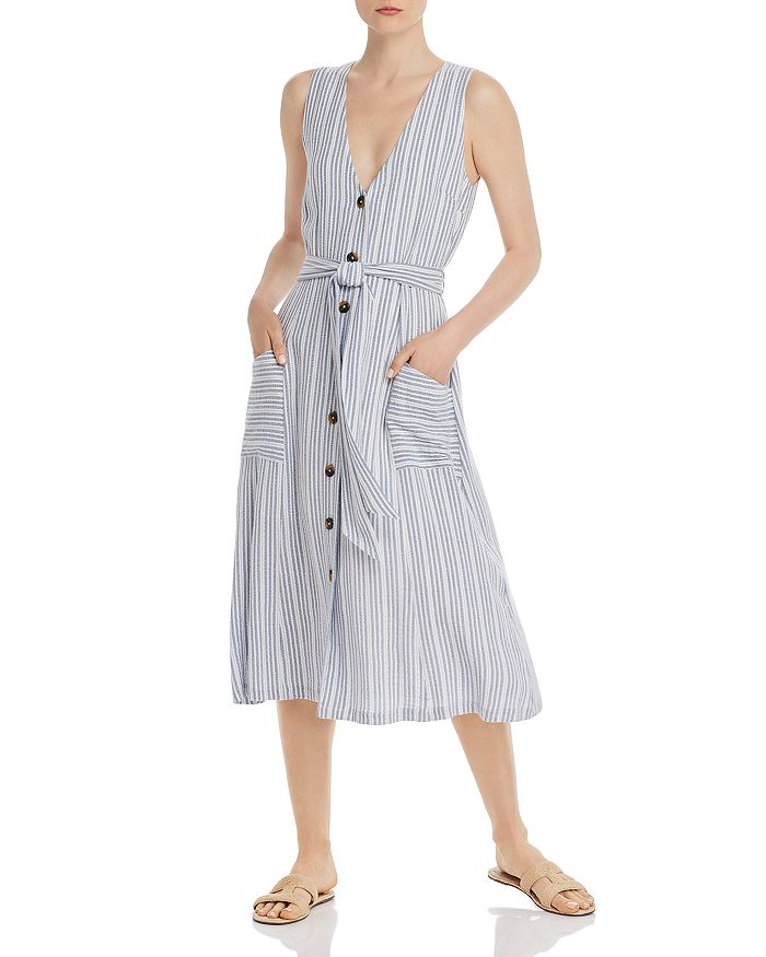Lost and Wander - Low Tide Striped Button-Down Midi Dress