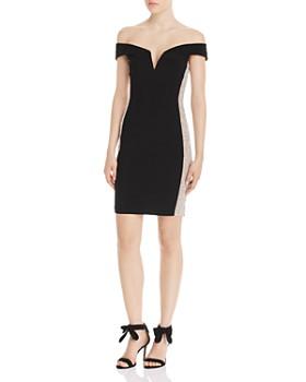 AQUA - Caviar Off-the-Shoulder Beaded Mini Dress - 100% Exclusive