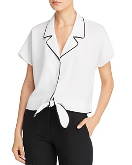 Marled - Piped Tie-Front Blouse