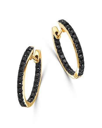 Bloomingdale's - Black Diamond Inside-Out Medium Hoop Earrings in 14K Yellow Gold, 0.80 ct. t.w. - 100% Exclusive