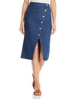 Vero Moda - Julie Asymmetric Button-Front Midi Skirt in Medium Blue Denim
