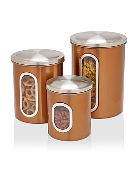 Honey Can Do - 3-Pack Metal Storage Canisters, Copper