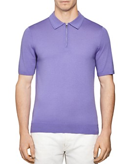 REISS - Maxwell Merino Wool Slim Fit Zip Polo Shirt
