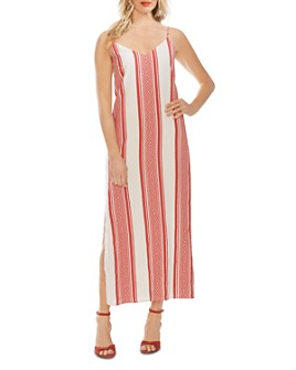VINCE CAMUTO - Jacquard Striped Maxi Slip Dress