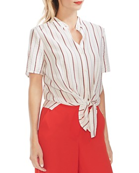 VINCE CAMUTO - Pinstriped Tie-Front Blouse
