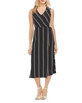 VINCE CAMUTO - Pinstriped Tie-Waist Dress