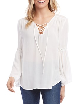 Karen Kane - Lace-Up Bell-Sleeve Blouse