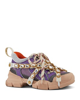 Gucci - Women's Sega Leather Lace Up Sneaker With Removable Crystals