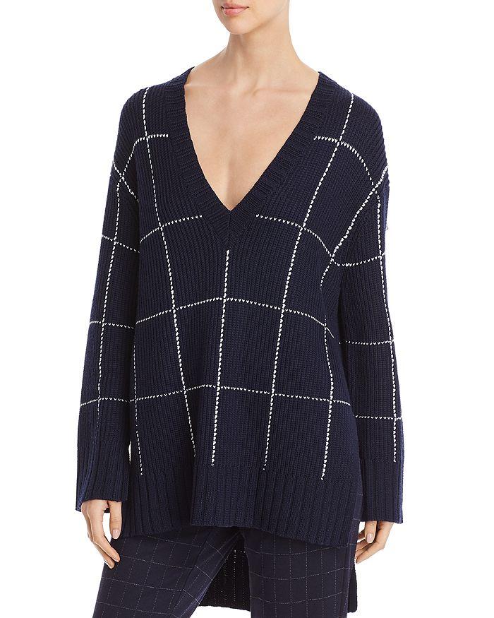 St. John - Wool-Blend Windowpane Check V-Neck Sweater