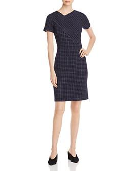 St. John - Asymmetric Check-Pattern Dress