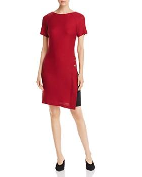 St. John - Textured Button-Detail Side-Inset Dress