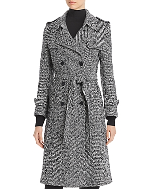 St. John Trenchcoats DOUBLE-BREASTED HERRINGBONE TRENCH COAT