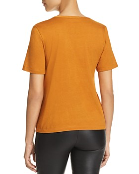 Kenneth Cole - Knot-Front Mixed-Media Top