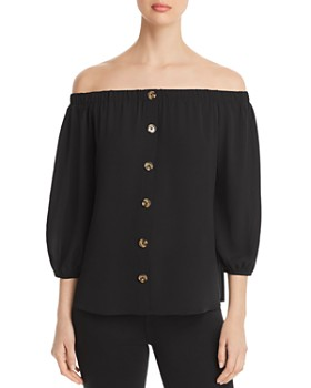 Status by Chenault - Off-the-Shoulder Button-Front Top