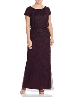 Adrianna Papell Plus - Short-Sleeve Beaded Gown