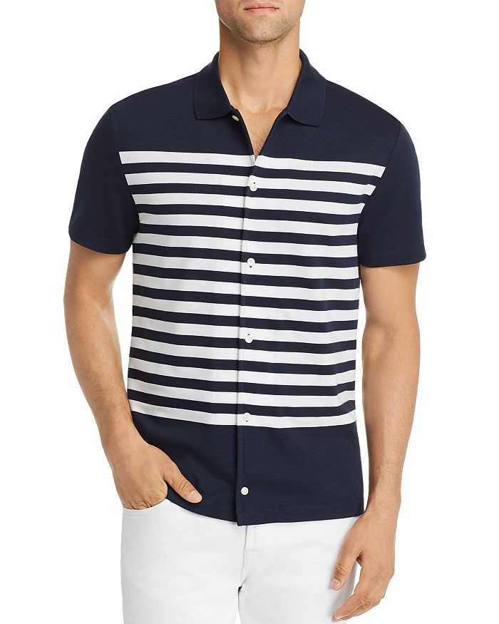 Michael Kors - Short-Sleeve Striped Classic Fit Shirt