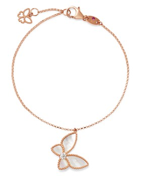 Roberto Coin - 18K Rose Gold Mother-of-Pearl & Diamond Butterfly Charm Bracelet - 100% Exclusive