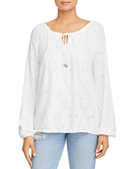 Cupio - Eyelet Long-Sleeved Top