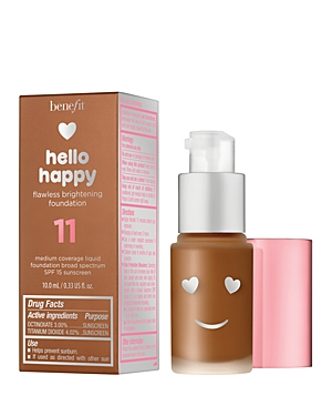 What It Is: Brighten up, baby! Happiness is a brighter, hydrated, flawless-looking complexion. Benefit\\\'s Hello Happy flawless brightening medium-coverage liquid foundation Spf 15 feels lightweight, looks natural and is virtually undetectable on skin. What It Does: Contains photochromic pigments that instantly adapt to brighten skin in any lighting, flower acids to help boost radiance* and hyaluronic acid to attract moisture to the skin\\\'s surface and help maintain hydration* - 12-hour long-wear F