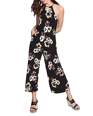 1.state Floral-Print High-Neck Jumpsuit