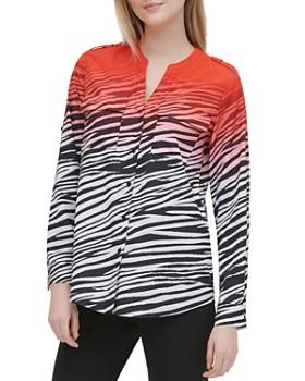 Calvin Klein - Ombré Zebra-Print Button-Down Top