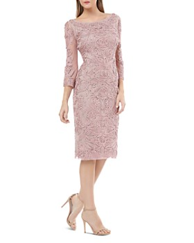 JS Collections - Bell Sleeve Embroidered Sheath Dress