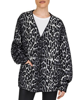 The Kooples - Oversized Leopard-Pattern Wool Cardigan