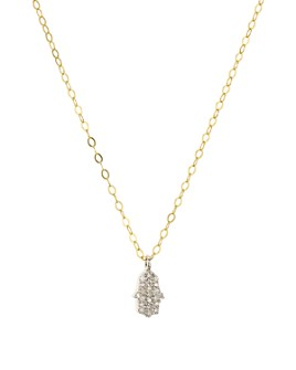 """Bloomingdale's - Diamond Hamsa Pendant Necklace in Gold-Plated Sterling Silver, 15.5"""" - 100% Exclusive"""