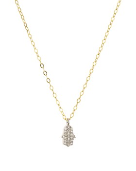 "Bloomingdale's - Diamond Hamsa Pendant Necklace in Gold-Plated Sterling Silver, 15.5"" - 100% Exclusive"